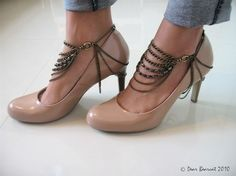 brass ankle chains and shoe harness