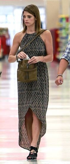 Ashley Greene shops at Target in a Sanctuary Cape Town Maxi Dress and Tory Burch Debbie Wedge Sandals. Get the look: http://www.celebrityfashionista.com/ashley-greene/sanctuary-cape-town-maxi-dress/