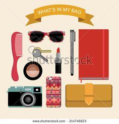 """""""Palabras, palabras"""". Motivación. Objetos que hablan de mi. ¿Qué hay en mi bolso? Nombre de los objetos y dónde se pueden comprar. Shutterstock Glamorous fashion illustration What is inside my bag - stock vector"""