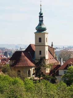 Tower of the Church of Our Lady Victorious, view from Seminary Garden, Petřín, Prague, Czechia