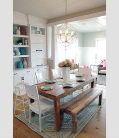 Casual dining room by Four Chairs Furniture + Cadence Homes (via House of Turquoise). Dining Room Design, Dining Area, Kitchen Dining, Kitchen Decor, Kitchen Colors, Dining Tables, Kitchen Ideas, Kitchen Table Bench, Farm Tables