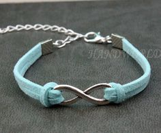 infinity bracelet mint green bracelet antique silver by handworld, $1.59