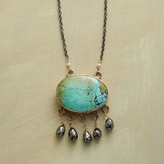"""NATURE'S REBEL NECKLACE--Spectacular yet delicate, Jes MaHarry's statement necklace showcases five black diamonds and a turquoise oval, set in a stamped 14kt rose gold bezel with sterling back. Oxidized sterling silver chain and lobster clasp. Made in USA. Exclusive. 19""""L."""