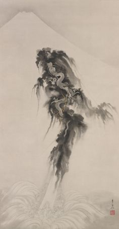 Romanticism painting reproductions: Rising dragon and Mt Fuji Japanese Art Modern, Japanese Prints, Romanticism Paintings, Mont Fuji, Statues, Dragon Artwork, Dragon Images, Dragons, Black And White Painting