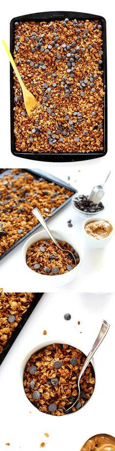AMAZING Peanut Butter Chocolate Chip Granola! 6 ingredients, simple and #vegan #glutenfree