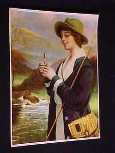 R ATKINSON FOX LIKE VINTAGE 1915 CHROMOLITHO ART PRINT WOMAN FLY FISHING NMINT #Realism