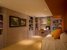 Recessed Desk - Neat Home-Office Nooks on HGTV don't love everything about the room but I do love the lighting