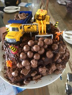 For Sam's farewell. Created after seeing this dump truck cake board ; Dump Truck Cakes, Cake Board, Chocolate, Stuffed Mushrooms, Vegetables, Food, Stuff Mushrooms, Cake Carrier, Essen