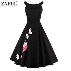 ZAFUL Brand Plus Size Women Dress Vintage robe rockabilly 50s Black Embroidery Sleeveless Swing Party Dresses Feminino Vestidos //Price: $29.00 & FREE Shipping //     #sale #lovemegashop