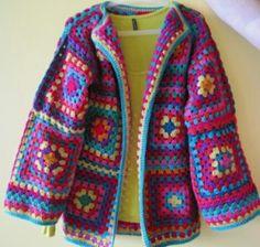 Transcendent Crochet a Solid Granny Square Ideas. Inconceivable Crochet a Solid Granny Square Ideas. Crochet Diy, Diy Crochet Granny Square, Point Granny Au Crochet, Crochet Bolero, Cardigan Au Crochet, Beau Crochet, Pull Crochet, Gilet Crochet, Crochet Coat