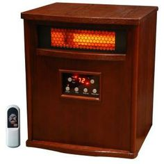Lifesmart 1500-Watt 6 Element Infrared Room Heater with Dark Oak Cabinet and Remote-LS-1000X-6W-IN at The Home Depot Dark Oak Cabinets, Wood Cabinets, Fire Sense Patio Heater, Best Space Heater, Portable Electric Heaters, Infrared Heater, Oak Stain, Cabinet Furniture, Office Furniture