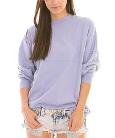 Look what I found on #zulily! Venley Lavender Oversize Long-Sleeve Football Jersey Tee by Venley #zulilyfinds