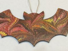 Hand Marbled Bat Halloween Samhain Decoration by MetalAndMarble