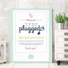 This unplugged wedding welcome sign by Miss Design Berry kindly asks your guests to unplug from their devices for your special day. Customize this sign with the fonts and colors of your choice. See more here: https://www.etsy.com/listing/221375423/desert-unplugged-wedding-sign-unplugged