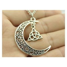 Crescent Moon necklace with Triquetra Symbol ❤ liked on Polyvore featuring jewelry and necklaces