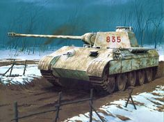 """Pz V Panther de la 5 SS Division """"Wiking"""", en algún lugar del frente del Este, invierno de 1.944. Más en www.elgrancapitan.org/foro/"""