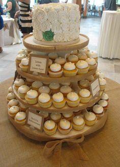 Burlap cupcake stand