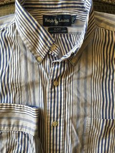 Men Ralph Lauren Blake White Blue Striped Large 2 Ply-Cotton Shirt #PoloRalphLauren #ButtonFront