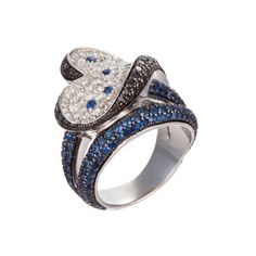 Salavetti 18K White Gold Ring With Sapphire & Diamond Abstract Heart Motif (=)