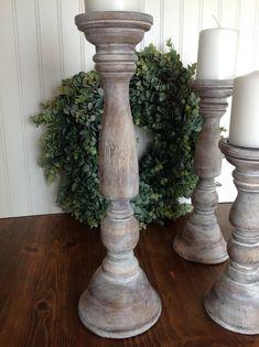 Antiques Brilliant Vintage Large Base Hardwood Wooden Candlestick Holder