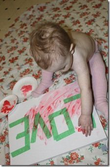 Put tape on canvas, let them finger paint, remove the tape. This would be so cute if you did your little one's name as the word they paint over. Great art to hang in their room!