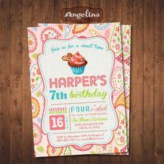Cupcake Birthday Invitation. DIY card. Digital Printable card