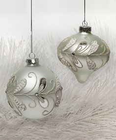White Frosted Glass Ornament Set #zulily #zulilyfinds