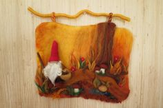 Little gnome in the forest needle felted 3D wall hanging by MothersShop