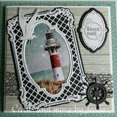 Noor!  Design blauw Masculine Birthday Cards, Masculine Cards, Nautical Cards, Nautical Theme, Beach Cards, Scrapbook Cards, Scrapbooking, Marianne Design, Card Patterns