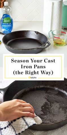 How To Season a Cast Iron Skillet — How ToYou can find Cast iron skillet and more on our website.How To Season a Cast Iron Skillet — How To Season Cast Iron Skillet, Cast Iron Skillet Cooking, Iron Skillet Recipes, Cast Iron Recipes, Cooking With Cast Iron, Cast Iron Frying Pan, All You Need Is, Just In Case, House Cleaning Tips