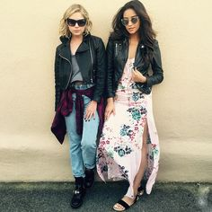 The two are rocking their black leather jacket in totally different ways! Love it! | Pretty Little Liars