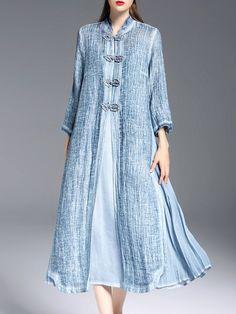 Shop Midi Dresses - Blue Tencel Slit 3/4 Sleeve Midi Dress online. Discover unique designers fashion at StyleWe.com.