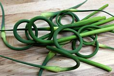 I should have had this post out a month ago when Garlic Scapes started to appear in Produce Markets. Ah well, it didn't happen. I'm still seeing them in the odd Produce Store but I susp… Scape Recipe, Root Vegetables, Veggies, Farmers Market Recipes, Homemade Dressing, Healing Herbs, How To Cook Eggs, Fish Sauce, Recipes