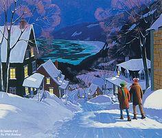 Rémi Clark, 'Du haut du village', print/reproduction | Galerie d'art - Au P'tit Bonheur - Art Gallery Art Folder, Snow Scenes, Acrylic Paintings, Winter Christmas, Art Gallery, Artsy, Urban, Watercolor, Deco