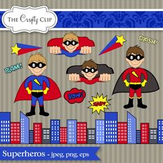 This adorable clip art set features a collection of superheros and superhero themed graphics. Use them to create favor tags, invitations, scrapbook pages, or anything else you can imagine.