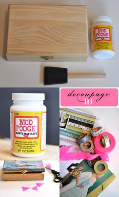 Mod Podge: The best thing ever created for all crafters everywhere! Cigar Box Projects, Cigar Box Crafts, Art Projects, Cigar Box Art, Altered Cigar Boxes, Mod Podge Crafts, Body Jewelry Shop, Wooden Jewelry Boxes, Diy Jewelry Box