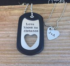 Hand stamped dog tag necklace set military gift by CMKreations