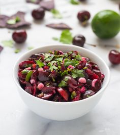 This cherry salsa recipe is fresh, fruity, and tastes incredible! Serve with chicken, pork, and of course tortilla chips. The perfect way to use fresh cherries. Healthy Dip Recipes, Healthy Dips, Summer Recipes, Appetizer Recipes, Vegetarian Recipes, Healthy Meals, Appetizers, Cherry Salsa, Fruit Salsa