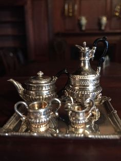 Superb Dollhouse Miniature Sterling Silver Paul Storr Tea and Coffee Set 1:12 Scale