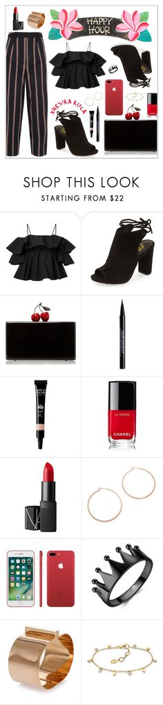 """Bottoms Up: Happy Hour"" by xhesikakuca ❤ liked on Polyvore featuring MSGM, Edie Parker, Urban Decay, Chanel, NARS Cosmetics, Jennifer Zeuner and Dsquared2"