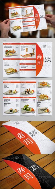 Sushi menu design Leaflet and flyer layout template Japanese - restarunt brochure