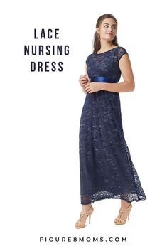 b082ebb8b6e32 Contessa Lace Maternity   Nursing Maxi Dress (Prussian Blue)