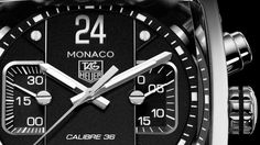 Detail of the dial of TAG Heuer's Monaco Twenty Four Calibre 36 Chronograph