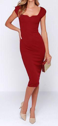 Main Dame Wine Red Midi Dress