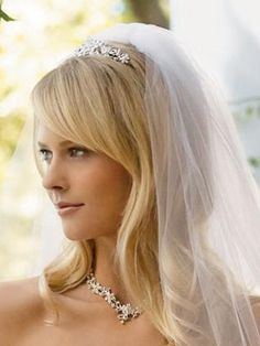 Straight hair wedding hairstyle