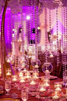 Suhaag Garden, Indian Wedding Decorator, Florida wedding decorator, centerpiece, crystal beads, candles