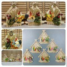 Магниты ручной работы. Ярмарка ÐœÐ°Ñ Ñ'еров - Ñ€ÑƒÑ‡Ð½Ð°Ñ Ñ€Ð°Ð±Ð¾Ñ'а. Купить Магниты-домики. Комбинированный, новогодний подарок, пенопРLolly Stick Craft, Diy Popsicle Stick Crafts, Popsicle Sticks, Easy Crafts, Diy And Crafts, Paper Crafts, Craft Stick Projects, Wedding Centerpieces Mason Jars, Spool Crafts