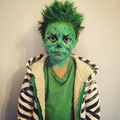 Step by step process of how i achieved this grinch makeup 1 cover diy the grinch makeup kids facepaint solutioingenieria Image collections