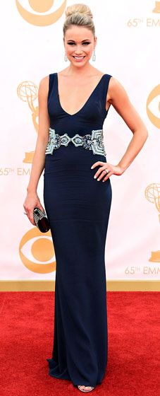 Katrina Bowden wore a black Badgley Mischka gown at the 2013 Emmys.
