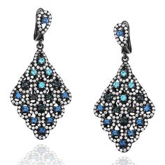 Suzy Levian Pave Cubic Zirconia Sterling Silver Diamond-Shape Chandelier Earrings